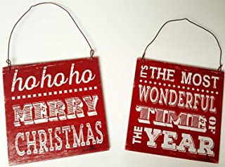 HAPPY DEALS ~ Wooden Sign Ornament - Set of 2 -Ho Ho Ho Merry Christmas and Most Wonderful Time of The Year Ornaments Set -