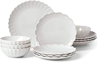 LENOX French Perle Scallop 12-Piece Dinnerware Set, 17.70 LB, White