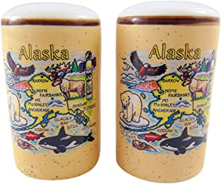 Alaska Salt and Pepper Shaker Set Alaskan Souvenir Ceramic Map Gift