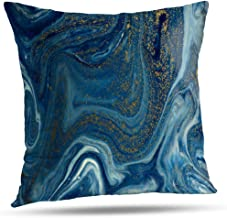 Lshtar Throw Pillow Covers, Marbled Blue and Golden Abstract Liquid Marble Marble Blue Gold for Sofa Cushion CoverShort Plush Design Decoration Home Bed Pillowcase 18x18 inch