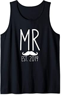 Mens Funny Wedding Gifts for the Couple Future Mr Groom Est 2019 Tank Top