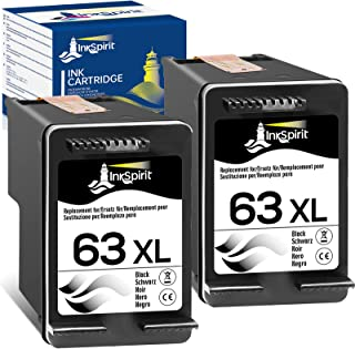 InkSpirit Remanufactured 63 Black Ink Cartridge Replacement for HP 63XL 63 XL for OfficeJet 3830 5255 4650 5258 5200 4655 ...