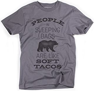 Superluxe Clothing Mens People in Sleeping Bags are Like Soft Tacos Bear T-Shirt