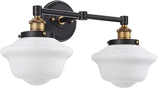 Lavagna 2 Light Bathroom Vanity Black with Milk Glass Linea di Liara LL-WL272-MILK-AB