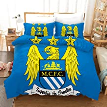 Manchester City F.C. Bedding Duvet Cover Set Duvet Cover Plus 2 Pillow Covers Luxury Soft Quality Wrinkle Fade and Stain Resistant(Double)