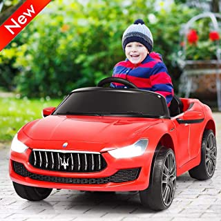 Jresboen Upgraded Version Safer Kids Ride on Cars with RC Remote Control, 12V Licensed Maserati Gbili, Battery Powered Cars for Kids with 2 Motors, MP3, LED Lights, Horn, Electric Car Toy Kids (Red)