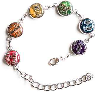 Colorful bracelet made with recycled circuit board, rainbow bracelet