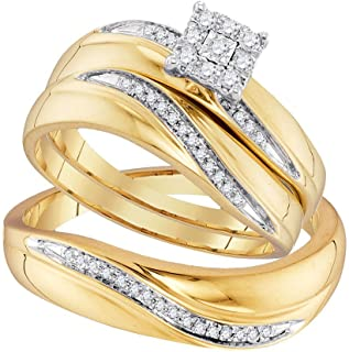 Sonia Jewels 10k Yellow Gold Trio His & Hers Round Diamond Cluster Matching Bridal Wedding Ring Band Set (1/5 Cttw)