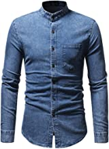 GREFER Men's Autumn Winter Coat Vintage Distressed Solid Denim Long Sleeve T-Shirt Tops with Pocket