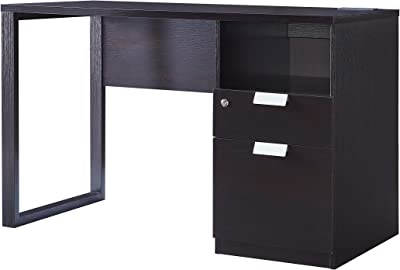 Toponeware IDUS11192621 Writing Computer Home Office Desk with 2 Drawers on Metal Glides, File Cabinet and Shelf, Red Cocoa