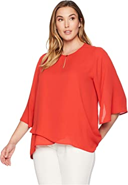 Plus Size Split-Neck Crossover Top