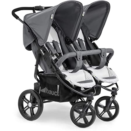 Hauck Roadster Duo SLX Side by Side Double Pushchair up to 36 kg with Lying Position from Birth, Easy Folding, Large Wheels - Black Grey