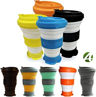 AVALEISURE 16oz Collapsible Travel Cup - Big, Foldable Silicone Mug with Leak-Proof Lid for Coffee, Water, Tea - Portable Camping, Hiking Mugs