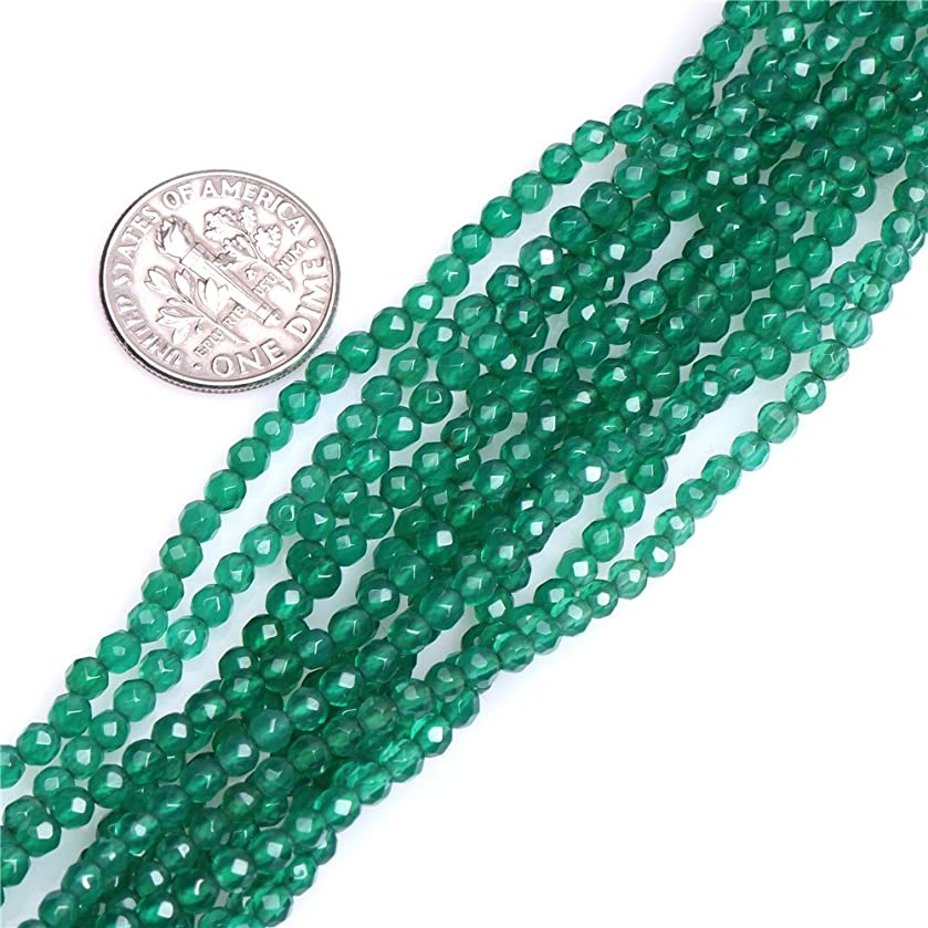 Green Agate Beads for Jewelry Making Natural Gemstone Semi Precious 3mm Round Faceted 15