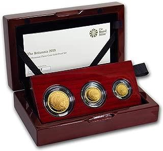 UK 2018 Great Britain 3-Coin Gold Britannia Proof Set Brilliant Uncirculated