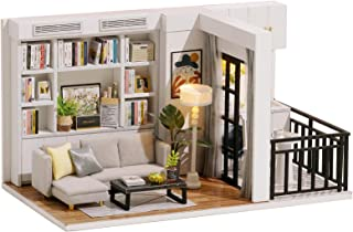 piberagi DIY Miniature Dollhouse Kit, 1:32 Scale Creative Room Mini Wooden Doll House with Furniture Plus Dust Proof for K...