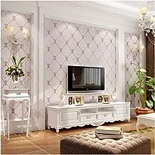 QIHANG European Modern Simple 3D Non-Woven Imitation Deerskin Wallpaper Living Room TV Background Diamond Lattice Pattern Wall Paper Roll 1.73'(0.53m)32.8'(10m)=57 sq.ft(5.3m2) (Light Purple Gray)