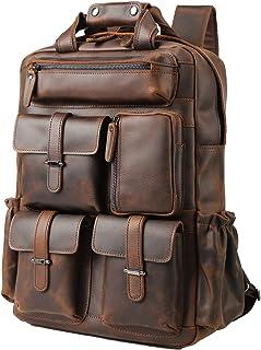 Mochila de piel de vacuno para hombre, estilo vintage, para computadora portátil de 15,6 pulgadas, bolsa de hombro, color marrón