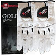 WARMEN 2 Pack Golf Gloves for Men - Premium Cabretta Leather Glove Left Hand