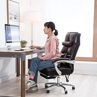 AAGYJ Sillas para Juegos de computadora, sillas de Escritorio para Oficina en el hogar con Almohada Lumbar/Masaje, sillas ergonómicas y sillas ejecutivas, sofá Silla Boss, marrón