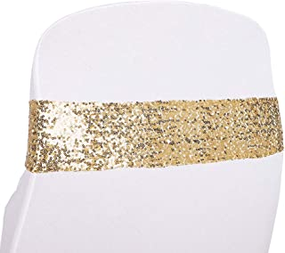 Kivvo 50pcs Chair Sashes Bands for Wedding Chair, Shining Sequin Chair Bows for Party Decoration (Light Gold)