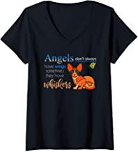 Womens Angels Don't Always Have Wings Some Have Whiskers V-Neck T-Shirt