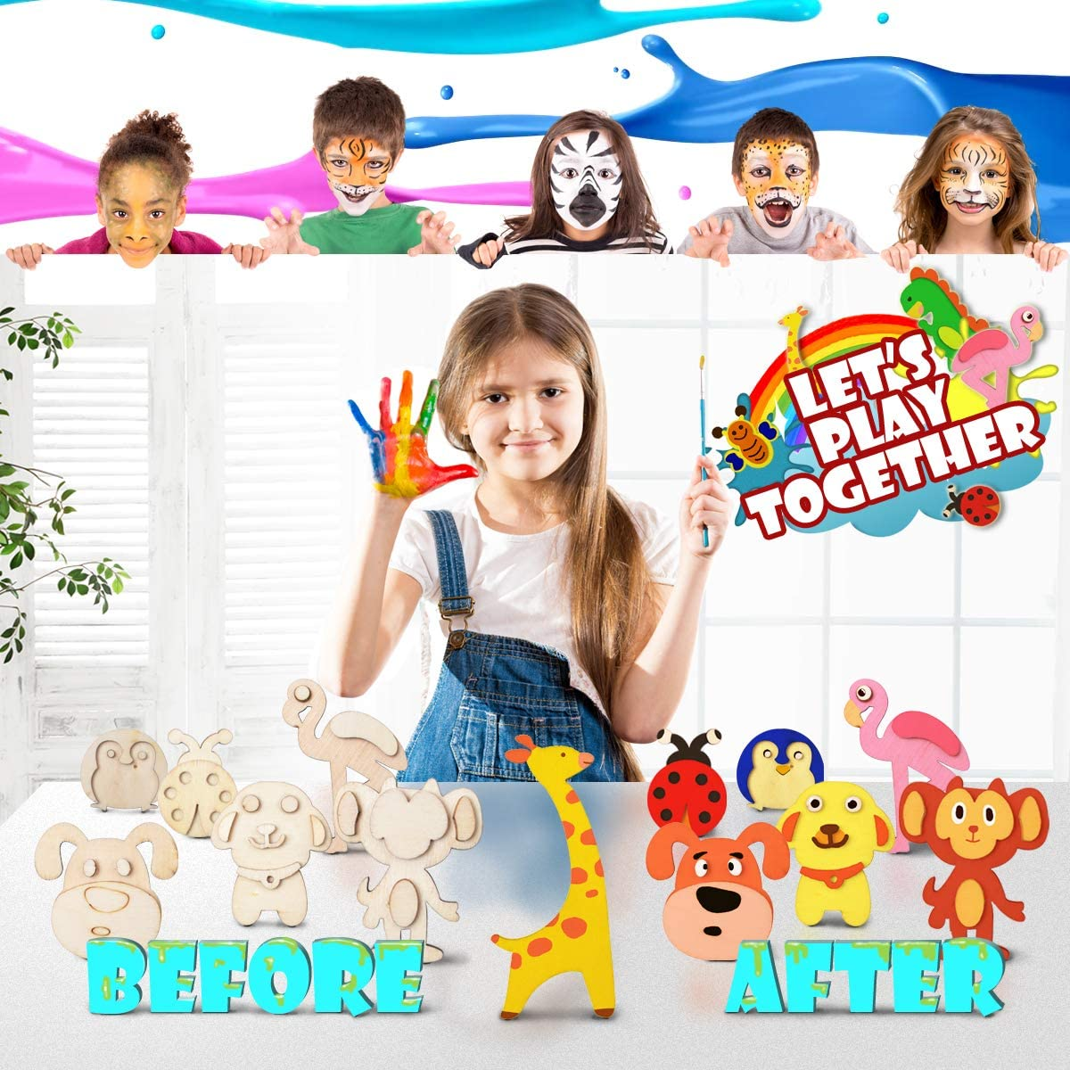 Creativity DIY Art and Crafts Supplies for Kids Lucheer Wooden Magnet Art Set Coloring Painting Educational Gift for Boys /& Girls Ages 3+ 20 PCS Wood Painting Craft Kit