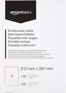 AmazonBasics Étiquettes multi-fonction pour adresse, 210.0mm x 297.0mm, 100 planches, 1 étiquette par planche, 100 étiquettes