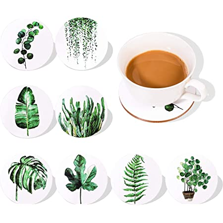 Tropical Plant Leaf Coasters for Drinks Set of 8| Absorbent Drink Coaster | Housewarming Hostess Warming Presents Decor, Wedding Registry, Living Room Decorations, Cool Gift Ideas (Round Leaf)