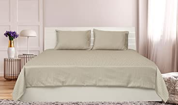 Hotel Linen Double Bed Sheet 3pcs Set, 100% Cotton 250Tc Sateen 1cm Stripe, Size: 220x240cm + 2pc Pillowcase 50x75cm, Stone