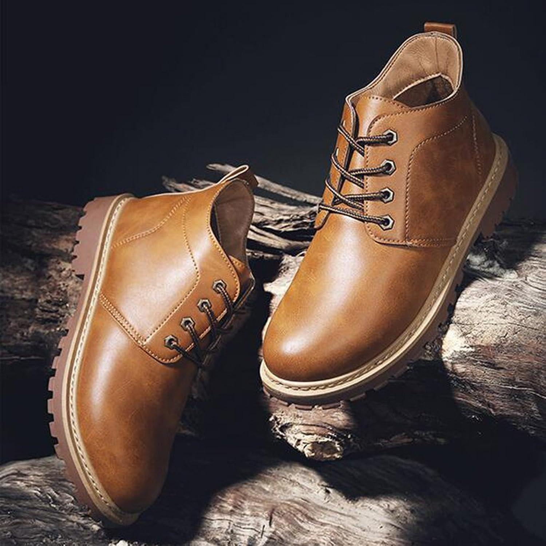 Men's shoes Feifei PU Material Non-Slip Wear-Resistant Martin Boots 3 colors (color   Yellow, Size   EU39 UK6.5 CN40)