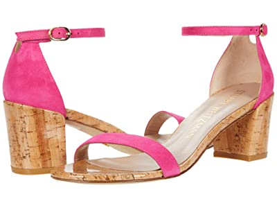 Stuart Weitzman Simple City Sandal (Peonia Suede/Cork) High Heels