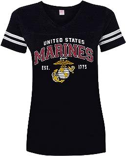 Womens Marine Corps Vintage Logo V-Neck T-Shirt