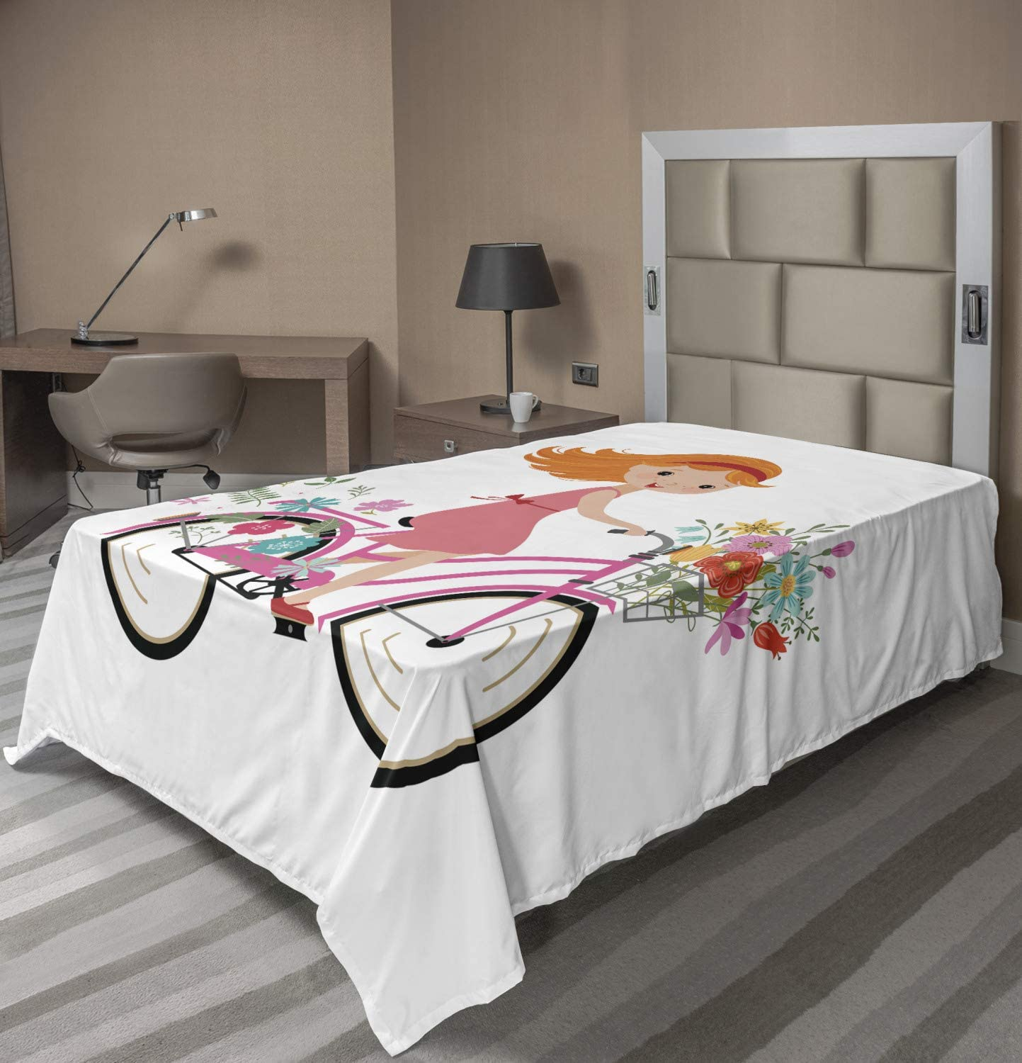 Ambesonne Flower Flat Sheet Happy Little with Bunch of New Free Shipping Jacksonville Mall Girl Flo