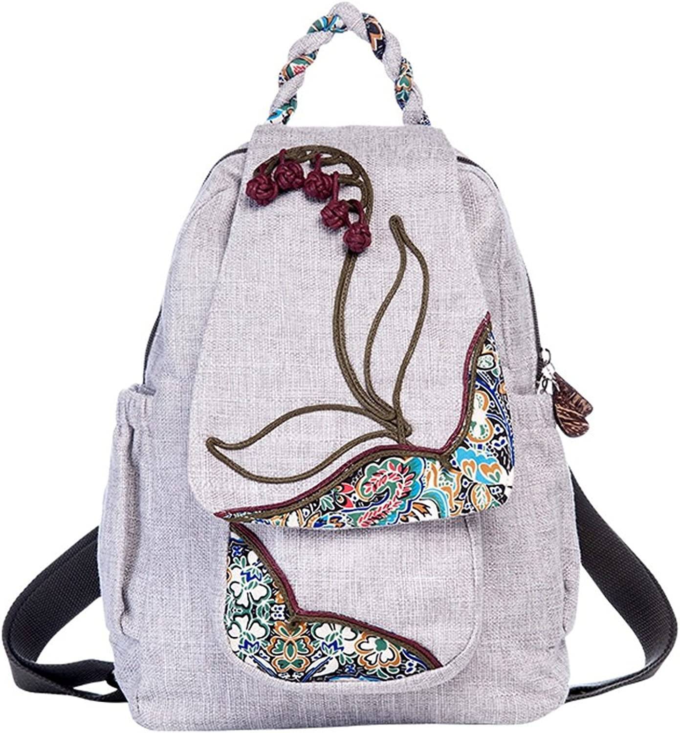 CXQ Vintage Ethnic Literary Backpack HandWoven Embroidery Pattern Decoration Backpack Casual Canvas Backpack