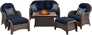 Hanover NEWPT6PCFP-NVY-TN 6 Piece Newport Woven Seating Set in Navy Blue with Fire Pit Table
