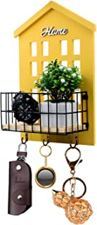HENGSHENG Key Holder Wood Wall Mounted.Mail, Letter Holder, Key Rack Organizer for Entryway, Kitchen, Office (Yellow)