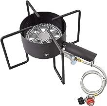 COOKAMP High Pressure Banjo 1-Burner Outdoor Propane Gas Cooker with 0-20 PSI Adjustable Regulator and Steel Braided Hose SA1450