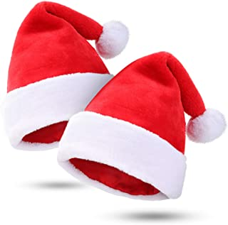 Kederwa 2 Pack Christmas Hats Thicken Santa Hats Plush and Soft Party Hats for Christmas Costume Party and Holiday Event