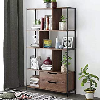 Hicy Modern Wood Bookshelf,Floor-Standing Bookcase,Display Storage Rack (Walnut)