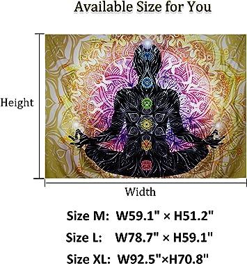 Lahasbja Seven Chakra Tapestry Yoga Meditation Tapestry Wall Hanging Colorful Mandala Wall Tapestry Indian Chakra Tapestries