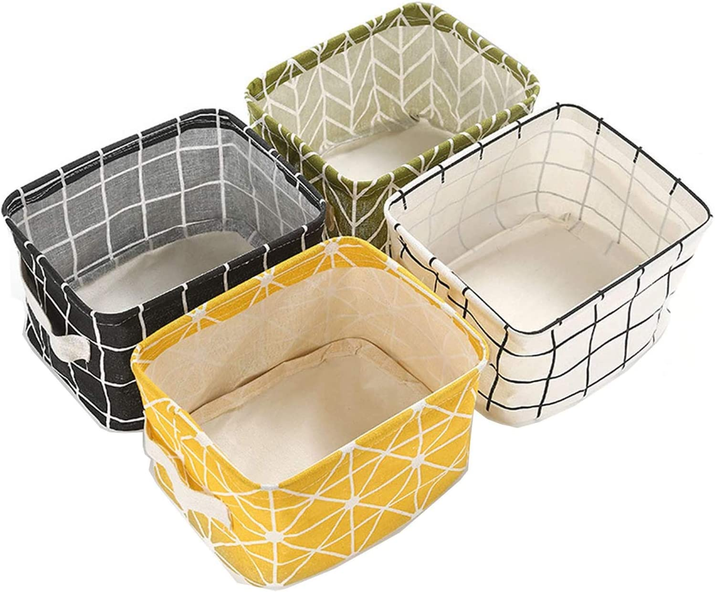 SIMIN 4 Pcs Cesta de Almacenamiento de Tela Plegable, Cajas de Almacenaje Cajas Organizadoras Plegable Cuadrados con Mango Cestas De Almacenamiento Cesta De Almacenamiento Organizador