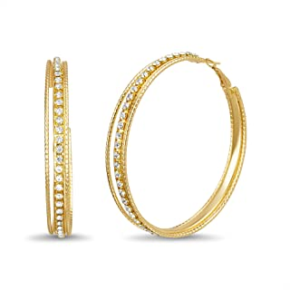 Steve Madden Multi Row Rhinestone 70mm Big Hoop Earrings for Women