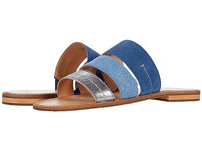 FRYE AND CO. Evie 3 Band Slide (Blue Multi Metallic Full Grain/Denim/Suede) Women