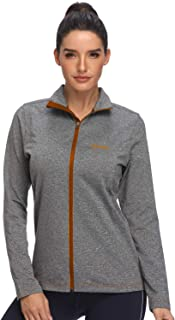 HISKYWIN Women's Long Sleeve Full Zip Running Shirts Lightweight Hiking Tops Athletic Yoga Workout Gym Track Jacket