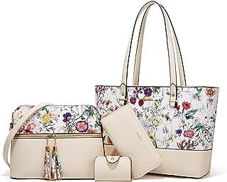 YTL Damen Handtaschen Shopper Groß Schultertasche Geldbörse Kartenhalter Tasche 4-teiliges Set für Büro Schule Einkauf Rei...