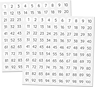 comprar comparacion 1-100 Números Círculo Pegatinas Redondo Etiquetas - 1cm, 25 por numero, 2500 piezas