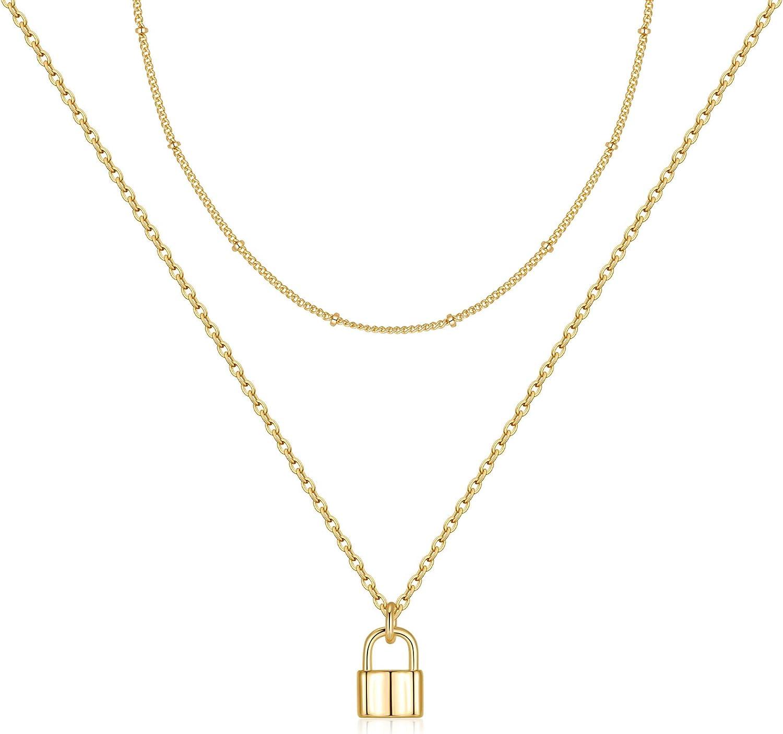 MONOZO Lock Necklace for Women Filled Padlock 14K 2021 Gold Pen Genuine