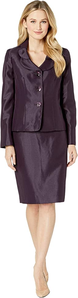 Three-Button Shawl Collar Shinny Skirt Suit
