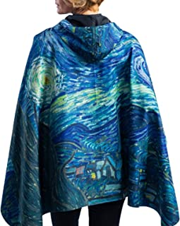 RainCaper Womens Raincoat - Reversible Hooded Rain Cape (Fine Art - Choose Your Color)